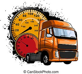 Classic American Truck. Vector illustration with american flag