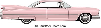 Classic American Vintage Pink Car. Vector Illustration.