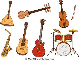 Classic and ethnic musical instruments