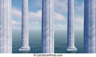 Classic antique columns among sea 3D concept - Antique...