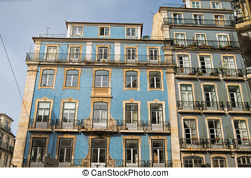 Classic apartment building exterior facade in Lisbon, Portugal
