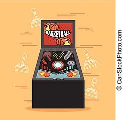 classic arcade game machine rendering