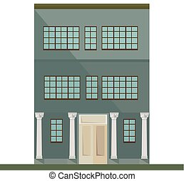 Classic architecture facade house with columns. Vector illustration background