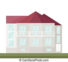 Classic architecture facade of a house. Vector illustration background