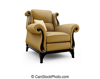 Classic armchair against white