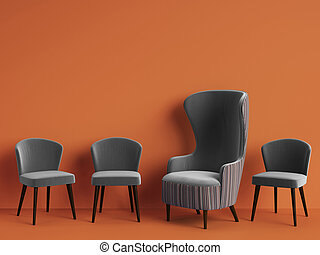 Classic armchair among simple chairs in grey color on orange background with copy space