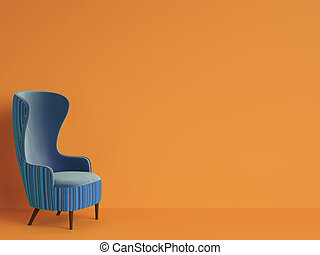 Classic armchair in blue color on orange background with copy space