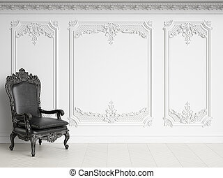 Classic armchair in classic interior with copy space. Black and White Gamma