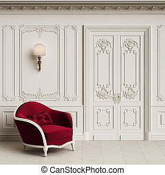 Classic armchair in classic interior with copy space