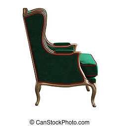 Classic armchair isolated on white background. Digital illustration.3d rendering
