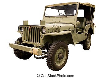 Classic Army Jeep Isolated on White