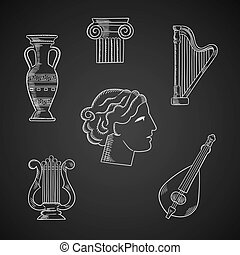 Classic art and musical instruments icons