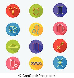 Classic astrological zodiac signs. Vector set. Icons in flat style with long shadow