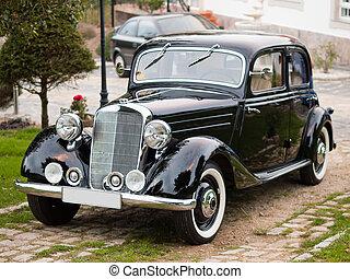 classic autó, alatt, egy, liget