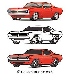 classic autó, póló, vektor, poszter, nyomtat, izom, karikatúra