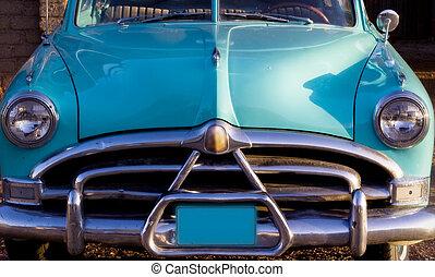 classic autó, restaurálás, noha, napnyugta, króm, lökhárító,...