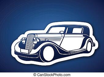 Classic auto over blue