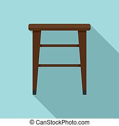 Classic backless chair icon. Flat illustration of classic backless chair icon for web design
