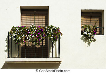 Classic balcony with flowers