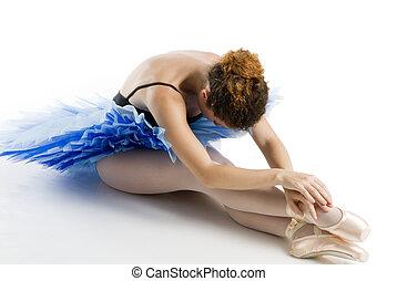 dancer i blue tutu in a classic pose