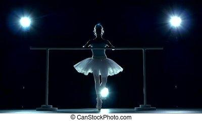 classic ballet dancer in white tutu posing on handle bar -...