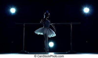 classic ballet dancer in white tutu posing on one leg at...