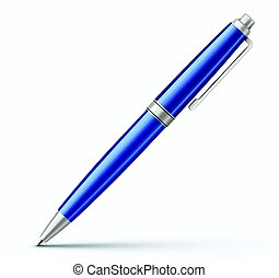 Classic ballpoint pen - Vector illustration of detailed blue...