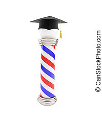 classic barber pole education. 3d Illustrations on a white...