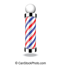 Illustration of classic barber shop pole on white background