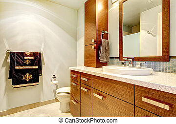 Classic bathroom interior with modern cabinets.
