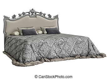 Classic bed on white background 3d rendering