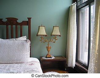 Classic Bedroom - classic bedroom scene with Victorian-era...
