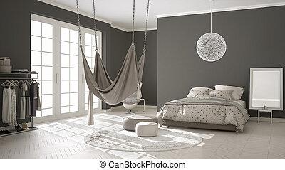 Classic bedroom, minimalistic interior design, with scandinavian hammock