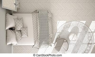 Classic bedroom, minimalistic scandinavian interior design,...