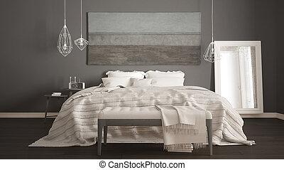 Classic bedroom, scandinavian modern style, minimalistic interior design, close-up