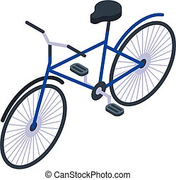 Classic bicycle icon, isometric style