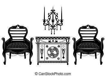 Classic biedermeier style furniture set