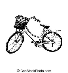 Classic bike silhouette, detailed vector illustration. Vintage hand graphics