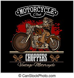 Classic biker illustration for Badge or Label on black. Motorcycle theme