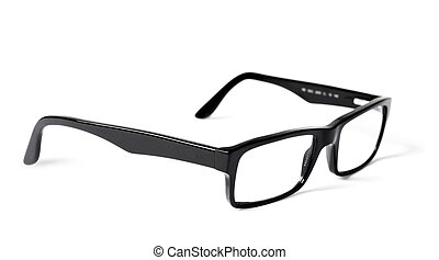 Classic black eye glasses isolated on white background