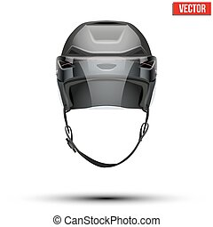 Classic black Ice Hockey Helmet with glass visor isolated on Background. Vector.