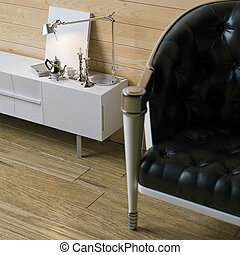 Classic black leather sofa in wood interior with desk lamp and candlestick