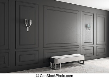 black room with bench