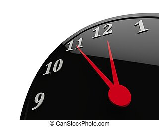 Classic black shiny clock with red dials - almost midnight