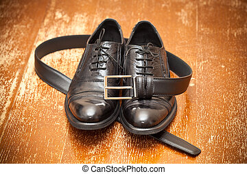 Classic black shoes and belt - Classic black leather shoes...