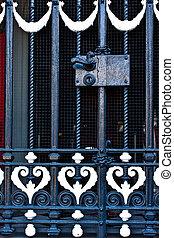 classic black steel door handle with lock