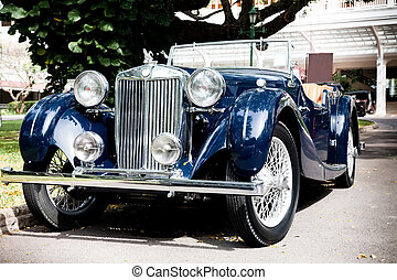 Classic Blue Car on Vintage Car