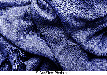 Classic blue color 2020. Texture of painted textile waves. Classic blue background, blue toning 19 4052. Abstract trendy background mock up with copy space for text