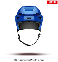 Classic blue Hockey Helmet isolated on Background. Vector.