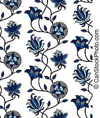 Classic blue indian flowers chintz pattern - Hand-drawn ...